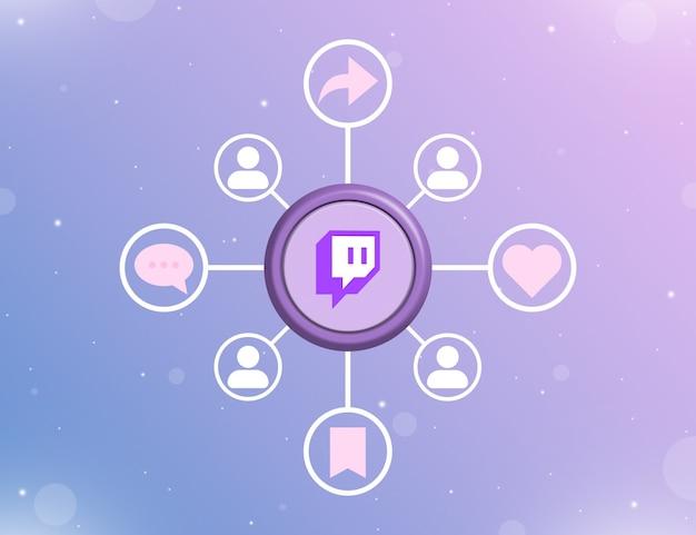 Logo mediów społecznościowych twitch na okrągłym przycisku z rodzajami działań społecznościowych i ikonami użytkowników 3d