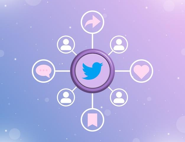 Logo mediów społecznościowych twittera na okrągłym przycisku z rodzajami działań społecznościowych i ikonami użytkownika 3d