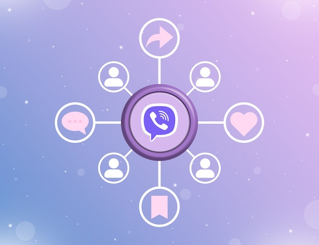 Logo mediów społecznościowych viber na okrągłym przycisku z rodzajami działań społecznościowych i ikonami użytkowników 3d