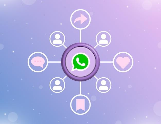 Logo mediów społecznościowych whatsapp na okrągłym przycisku z rodzajami działań społecznościowych i ikonami użytkowników 3d