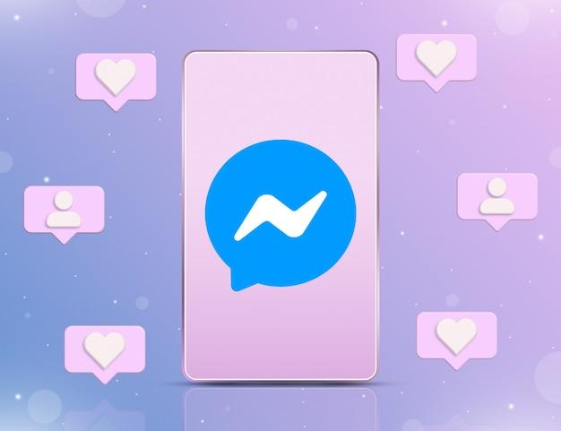 Logo messenger na ekranie telefonu z ikonami powiadomień o nowych polubieniach i obserwujących wokół 3d