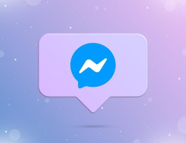 Logo messenger na ikonie powiadomienia 3d