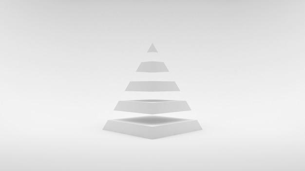 Logo na białej piramidzie o białej powierzchni składającej się z równych poziomych części