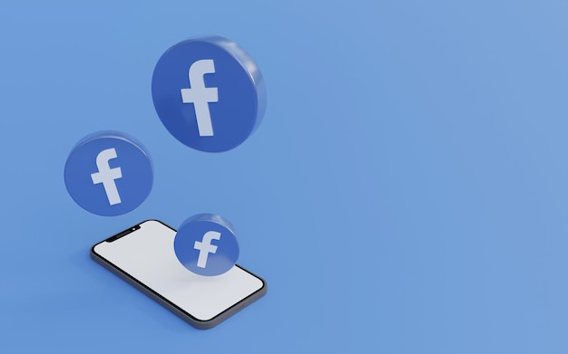Logo Na Facebooku Z Niebieskim Tłem Smartfona Czysta I Prosta Ilustracja Renderowania 3d Premium Zdjęcia