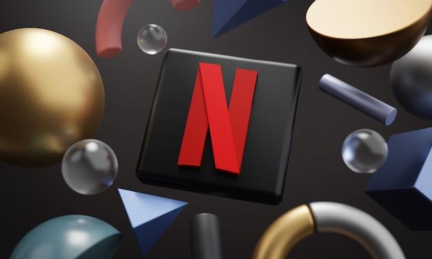 Logo netflix wokół abstrakcyjnego kształtu renderowania 3d