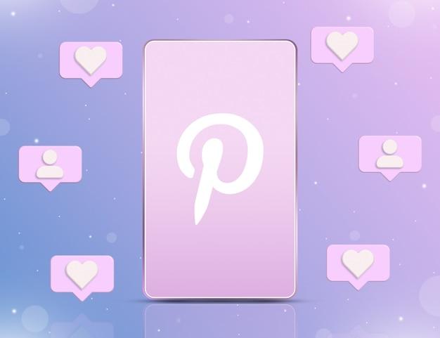 Logo pinteresta na ekranie telefonu z ikonami powiadomień o nowych polubieniach i obserwujących wokół 3d