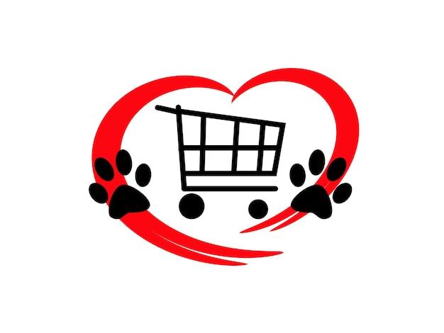 Logo produktów dla zwierząt domowych, czerwone serce i łapy zwierząt, czas na zakup, koncepcja.