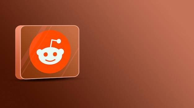 Logo reddit na szklanej platformie 3d