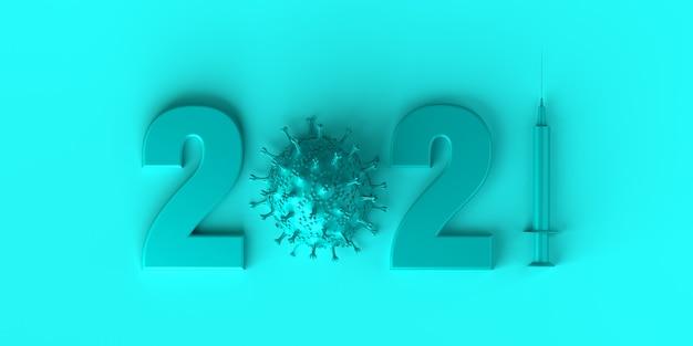 Logo roku 2021 z wirusem i strzykawką ze szczepionką nowy rok transparent ilustracja 3d