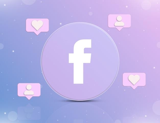 Logo sieci społecznościowej facebook z ikonami powiadomień o nowych polubieniach i obserwujących wokół 3d