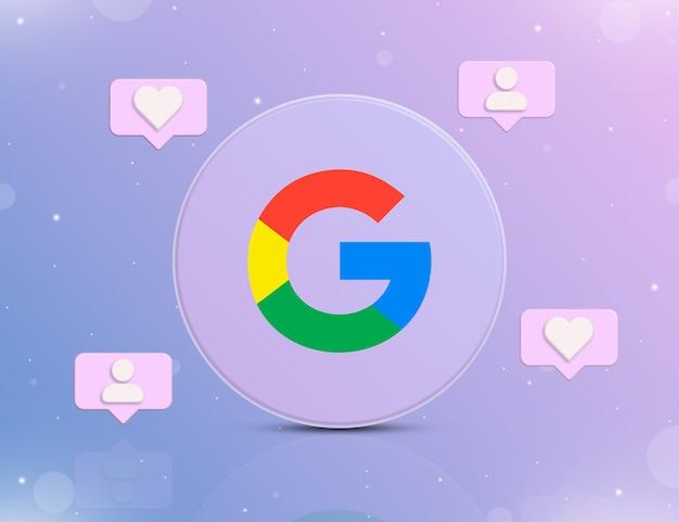 Logo sieci społecznościowej google z ikonami powiadomień o nowych polubieniach i obserwujących wokół 3d
