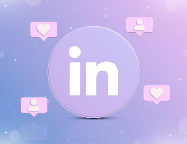 Logo sieci społecznościowej linkedin z ikonami powiadomień o nowych polubieniach i obserwujących wokół 3d
