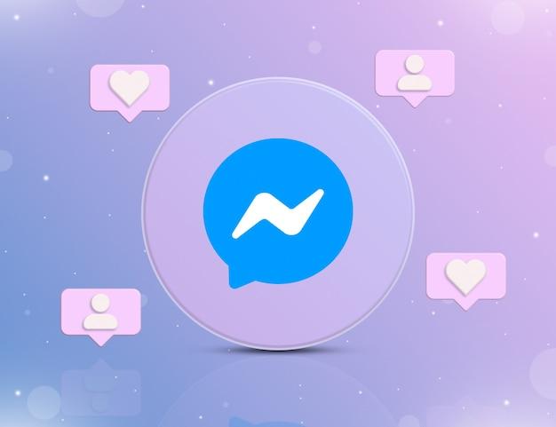 Logo sieci społecznościowej messenger z ikonami powiadomień o nowych polubieniach i obserwujących wokół 3d
