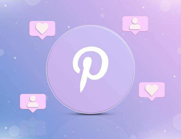 Logo sieci społecznościowej pinterest z ikonami powiadomień o nowych polubieniach i obserwujących wokół 3d