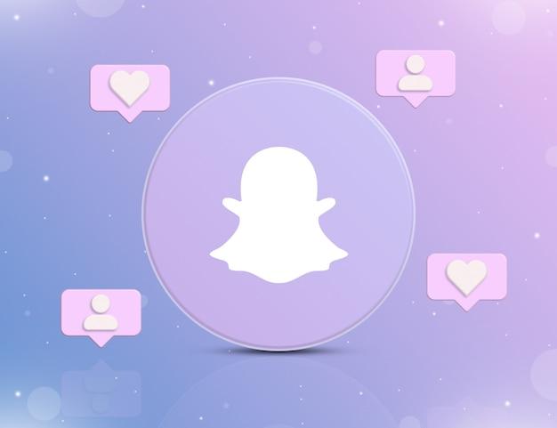Logo sieci społecznościowej snapchat z ikonami powiadomień o nowych polubieniach i obserwujących wokół 3d
