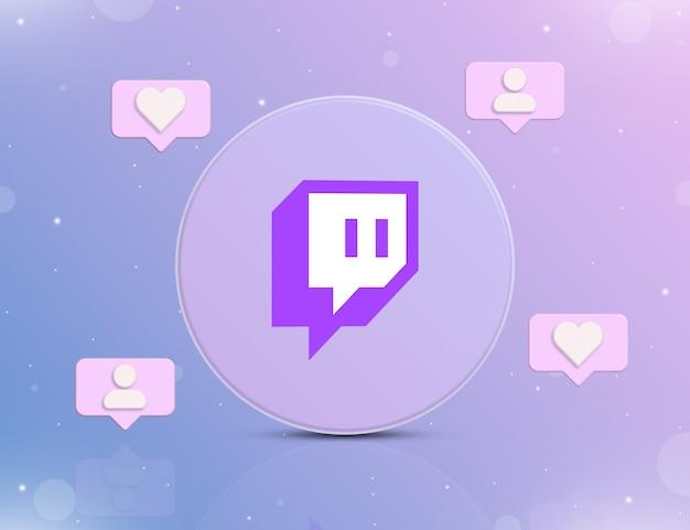 Logo sieci społecznościowej twitch z ikonami powiadomień o nowych polubieniach i obserwujących wokół 3d