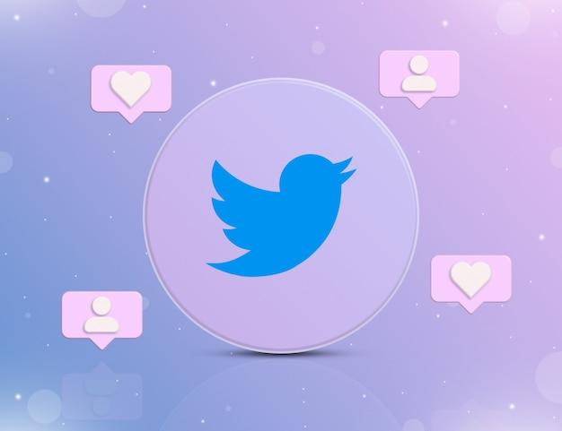 Logo sieci społecznościowej twittera z ikonami powiadomień o nowych polubieniach i obserwujących wokół 3d