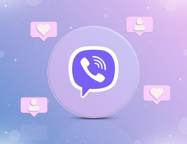 Logo sieci społecznościowej viber z ikonami powiadomień o nowych polubieniach i obserwujących wokół 3d