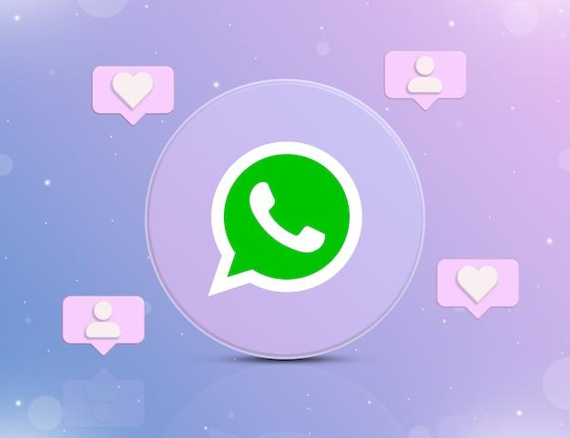 Logo sieci społecznościowej whatsapp z ikonami powiadomień o nowych polubieniach i obserwujących wokół 3d