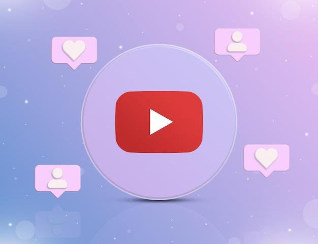 Logo sieci społecznościowej youtube z ikonami powiadomień o nowych polubieniach i obserwujących wokół 3d