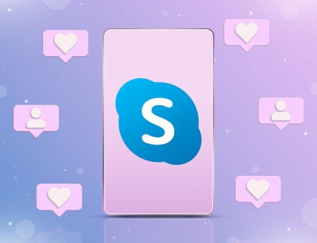 Logo skype na ekranie telefonu z ikonami powiadomień o nowych polubieniach i obserwujących wokół 3d