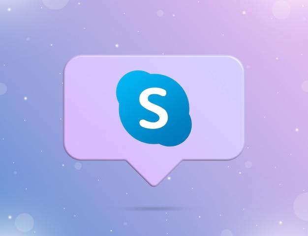 Logo skype na ikonie powiadomienia 3d