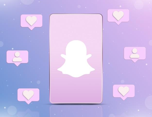 Logo snapchata na ekranie telefonu z ikonami powiadomień o nowych polubieniach i obserwujących wokół 3d