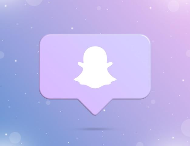 Logo snapchata na ikonie powiadomienia 3d