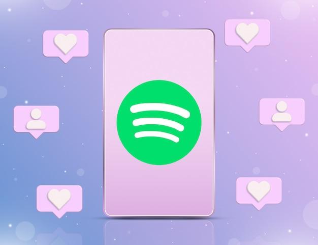 Logo spotify na ekranie telefonu z ikonami powiadomień o nowych polubieniach i obserwujących wokół 3d