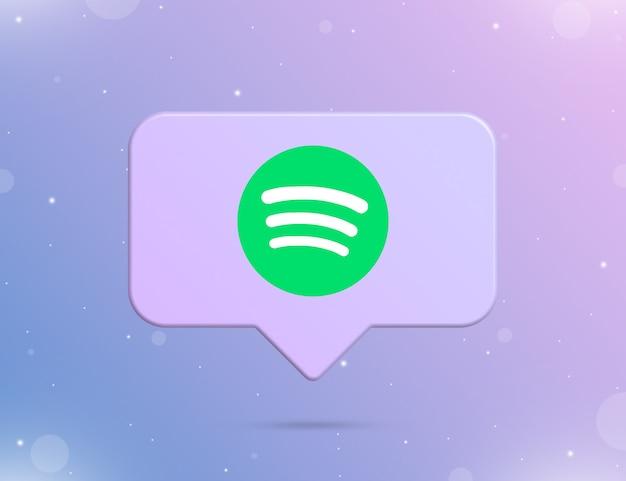 Logo spotify na ikonie powiadomienia 3d