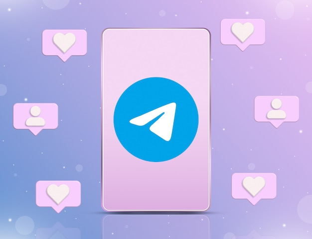 Logo telegramu na ekranie telefonu z ikonami powiadomień o nowych polubieniach i obserwujących wokół 3d
