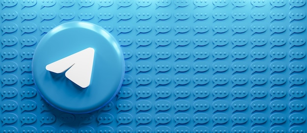 Logo telegramu renderowania 3d z ikoną wiadomości