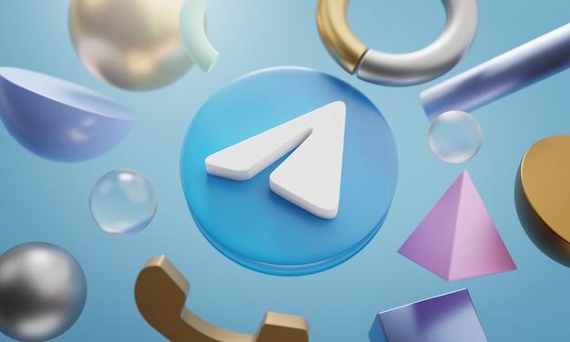 Logo telegramu wokół renderowania 3d abstrakcyjny kształt tła
