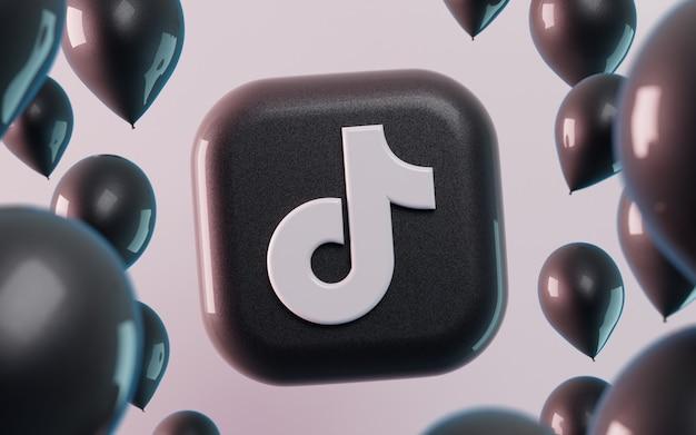 Logo tiktok 3d z błyszczącymi balonami