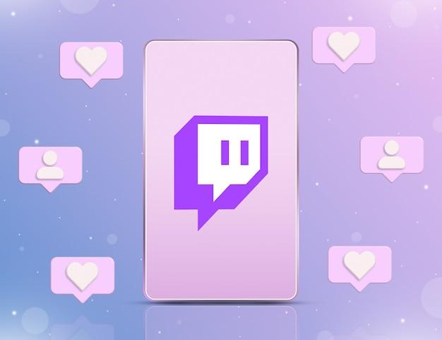 Logo twitcha na ekranie telefonu z ikonami powiadomień o nowych polubieniach i obserwujących wokół 3d
