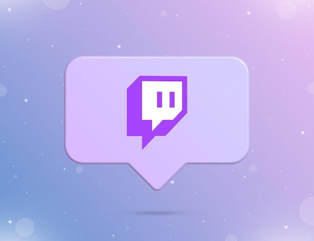 Logo twitcha na ikonie powiadomienia 3d