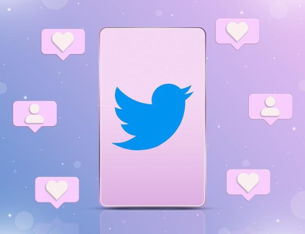 Logo twittera na ekranie telefonu z ikonami powiadomień o nowych polubieniach i obserwujących wokół 3d