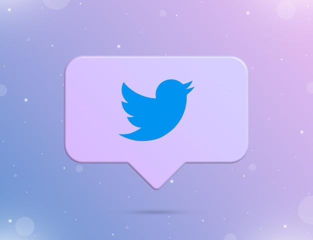 Logo twittera na ikonie powiadomienia 3d