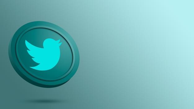 Logo twittera na renderowaniu okrągłego przycisku