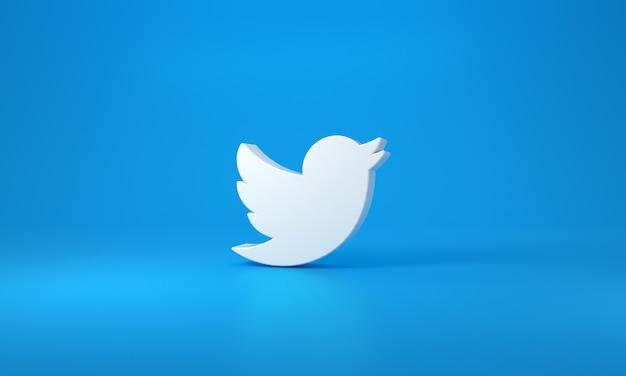 Logo twittera z miejscem na tekst i grafikę. niebieskie tło. renderowanie 3d.