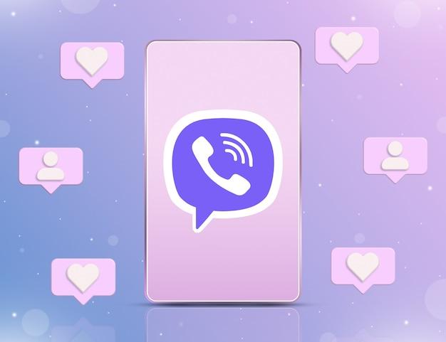 Logo viber na ekranie telefonu z ikonami powiadomień o nowych polubieniach i obserwujących wokół 3d
