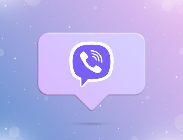 Logo viber na ikonie powiadomienia 3d