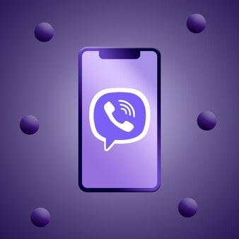 Logo viber na renderowaniu 3d ekranu telefonu