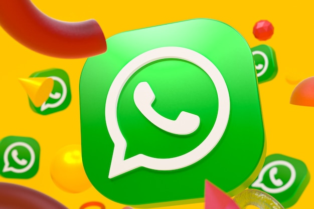 Logo whatsapp na abstrakcyjnym tle geometrii