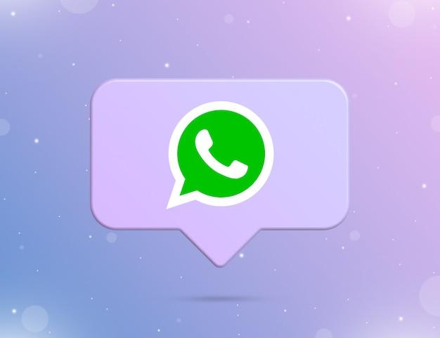 Logo whatsapp na ikonie powiadomienia 3d