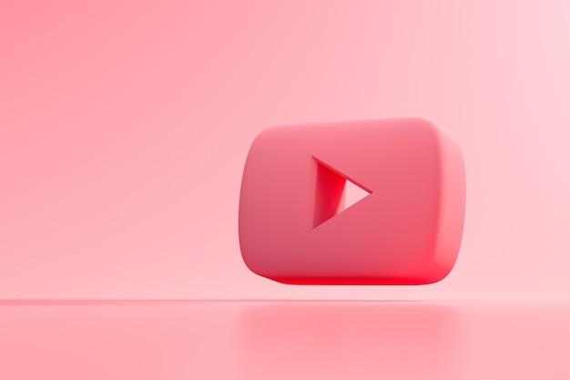 Logo youtube 3d, aplikacja społecznościowa. renderowanie 3d