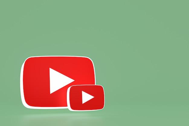 Logo youtube i odtwarzacz wideo projekt 3d lub interfejs odtwarzacza multimediów wideo