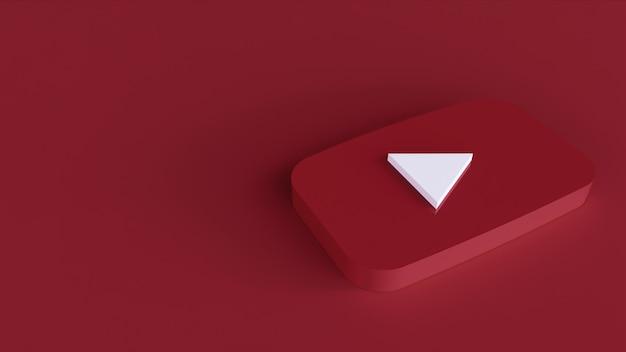 Logo youtube minimalny prosty szablon projektu. kopia przestrzeń 3d