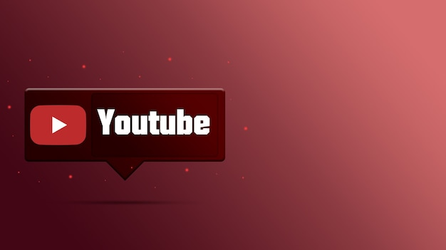 Logo youtube na dymku 3d
