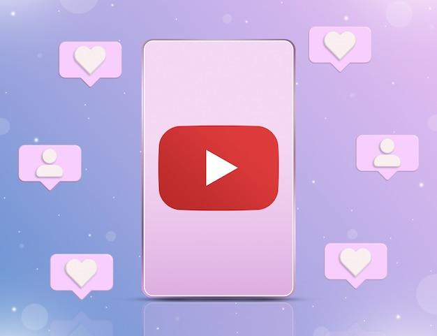 Logo youtube na ekranie telefonu z ikonami powiadomień o nowych polubieniach i obserwujących wokół 3d